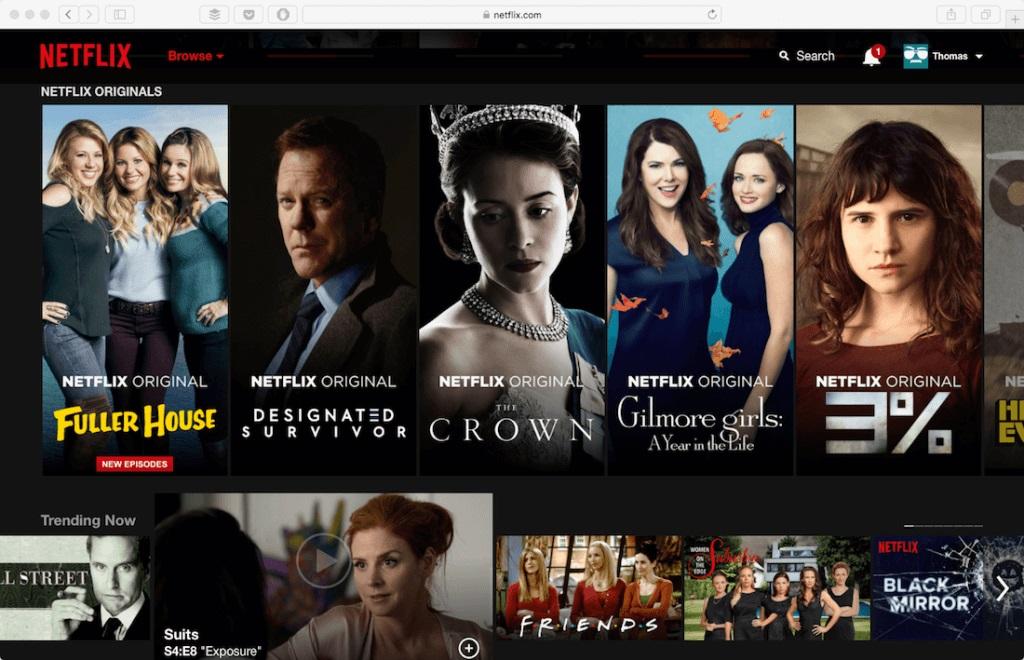 Netflix Example Minimalistic web design
