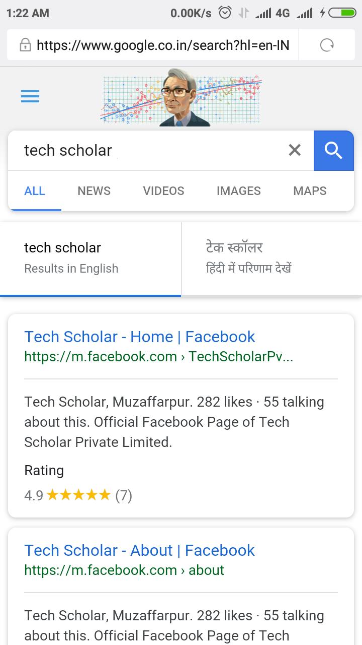 Tech Scholar on Facebook in New Google Search UI