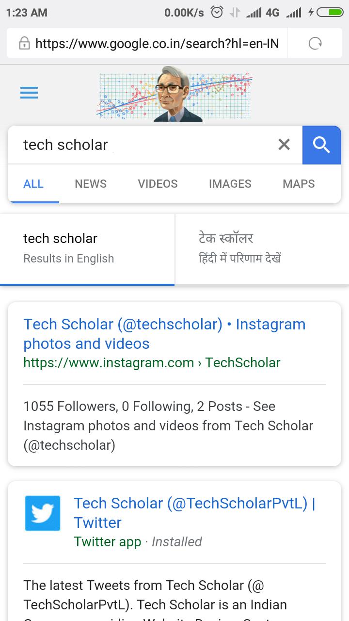 Tech Scholar on Instagram in New Google Search UI